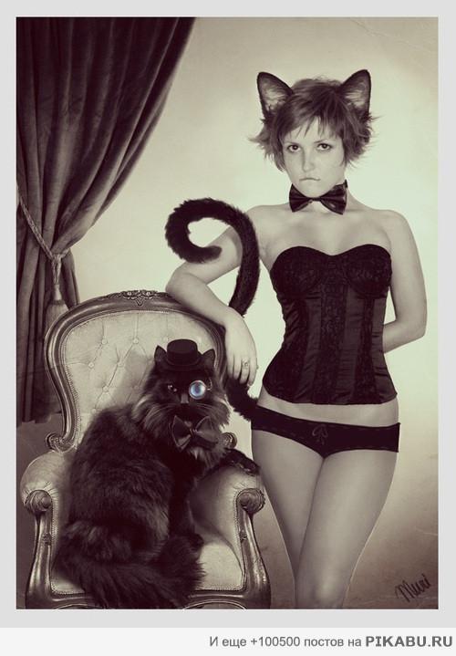 девушки с кошками картинки