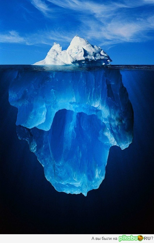 An Amazing View Of An Iceberg Above And Below Sea Level