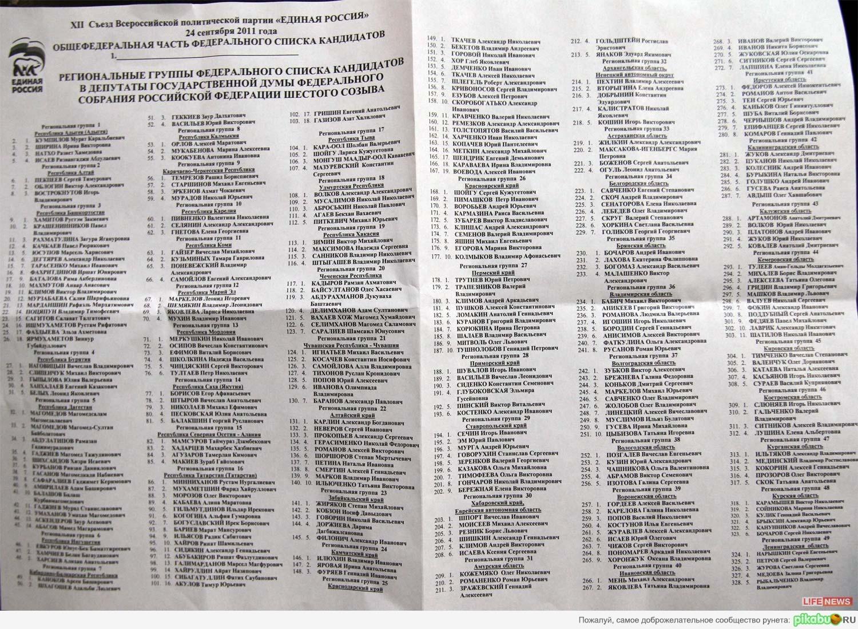 """Найди своих воров Полный список кандидатов от """"ЕР"""" на Выборы-2011"""