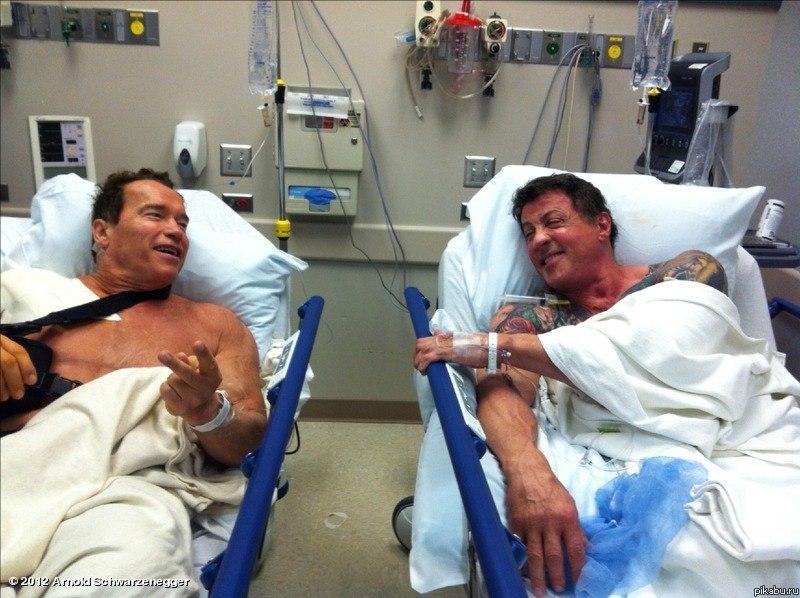"""Арни и Сталонне, после трюков в последнем фильме, попали в больницу и ждут своей очереди на операцию После операции и выздоровления, обещали,что приступят,к работе над новым фильмом """"Гробница""""."""
