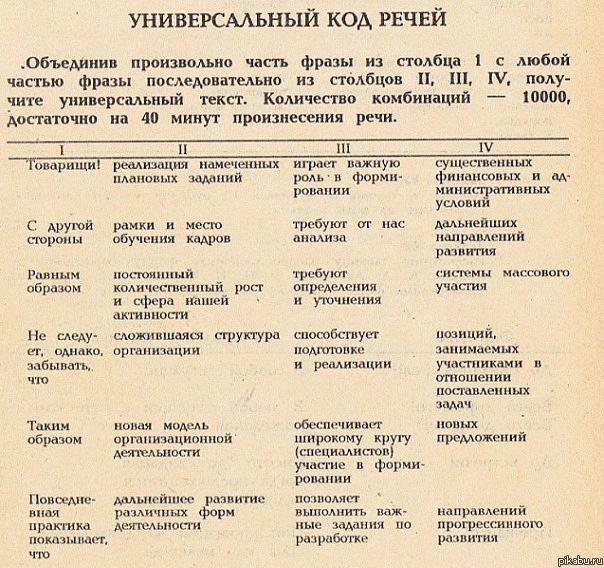 универсальная таблица для выступлений