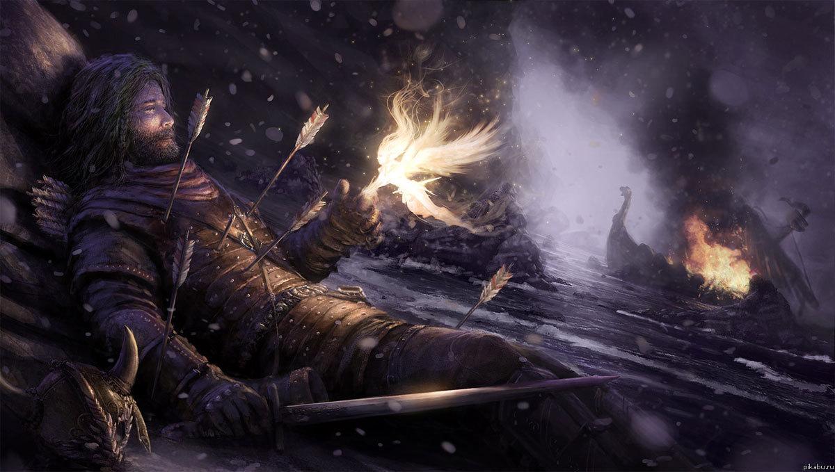 """Еще один потрясающий арт На тему то ли Скайрима, то ли викингов. Автор назвал сие """"Валькирия"""" уж не знаю почему"""