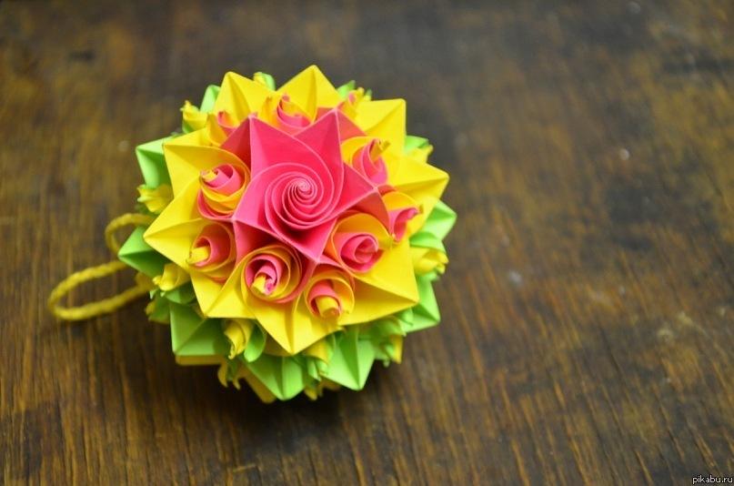 Бумажный шарик - кусудама Сама сделала :) Другое.