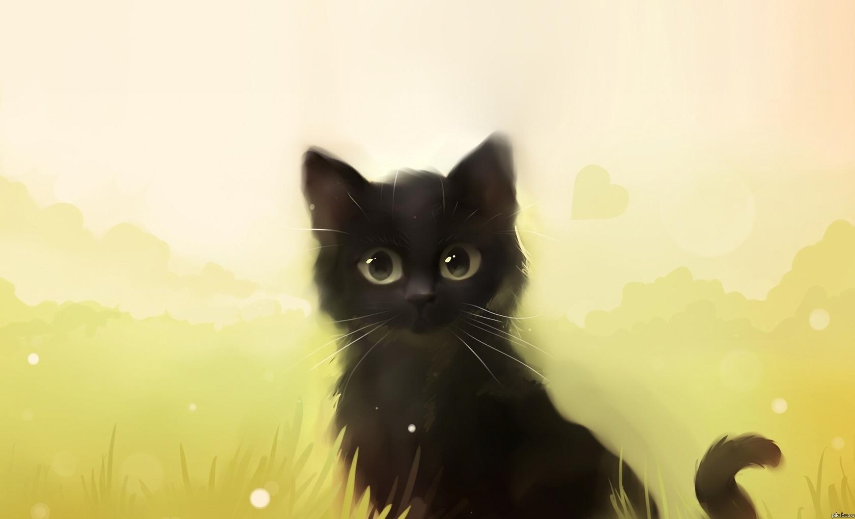 фото чёрных котят аниме