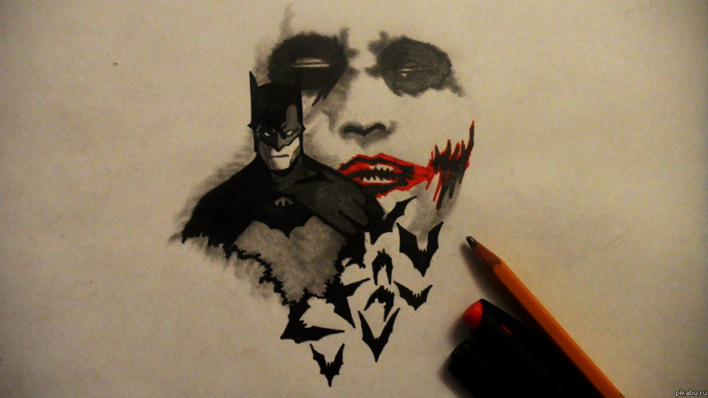 Джокер и бэтмен (рисунок карандашом ...: pikabu.ru/story/dzhoker_i_byetmen_risunok_karandashom_658897