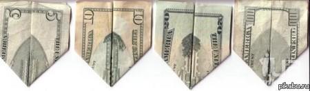 Как правильно свернуть доллар треугольником схема