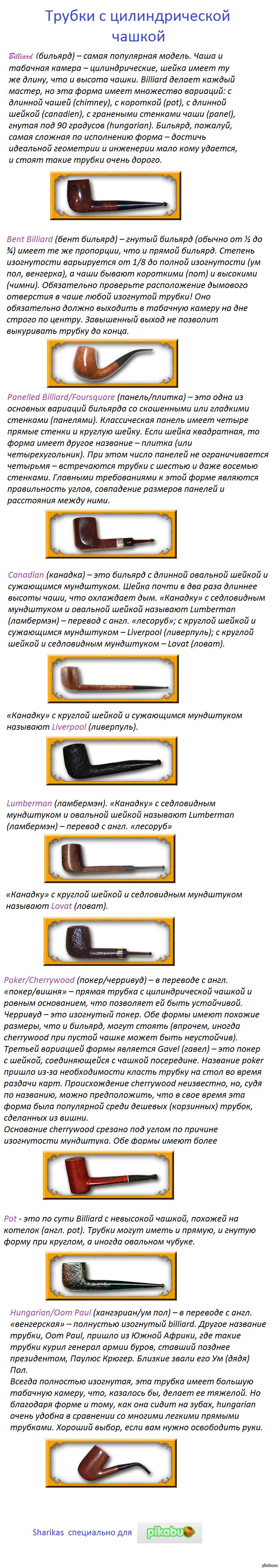 Формы курительных трубок. Часть вторая трубки с цилиндрической чашей