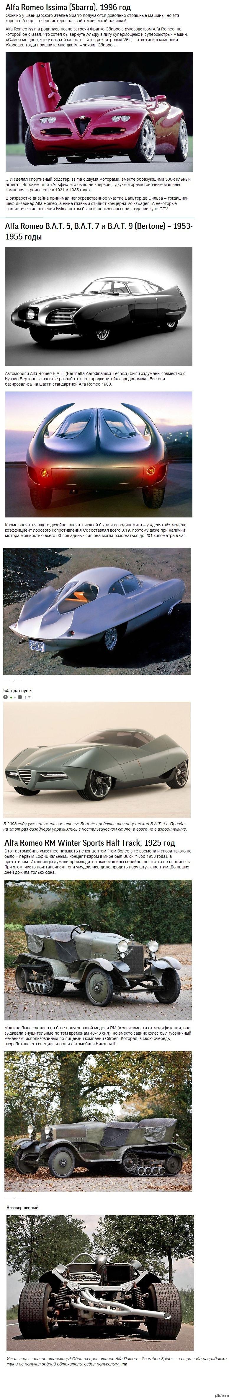 Тринадцать концепт-каров Alfa Romeo 3/3 Внимание: длинная картинка.  (На авторство не претендую, вырезал и склеил).